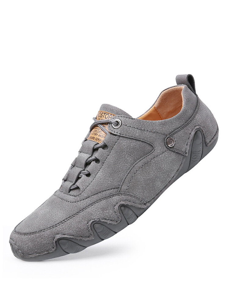 Men Comfy Round Toe Lace Up Soft Casual Leather Shoes