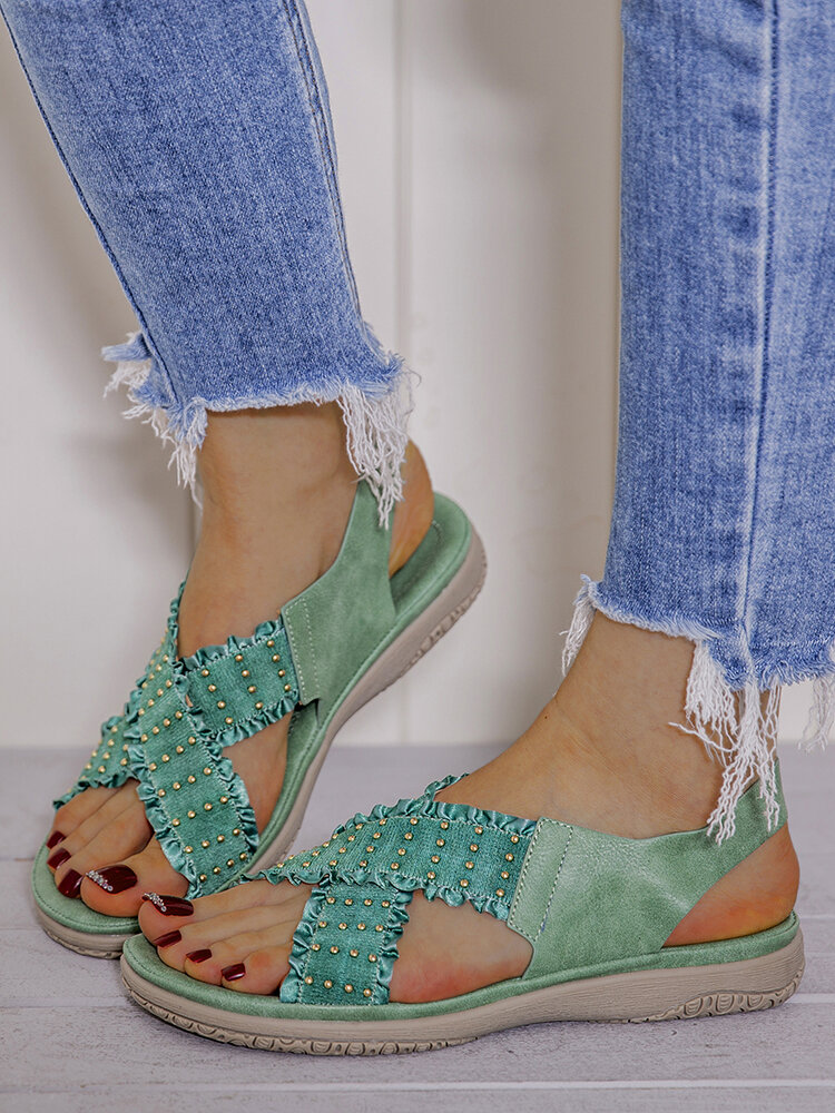 LOSTISY Women Lace Decor Cross Elastic Band Comfy Casual Sandals