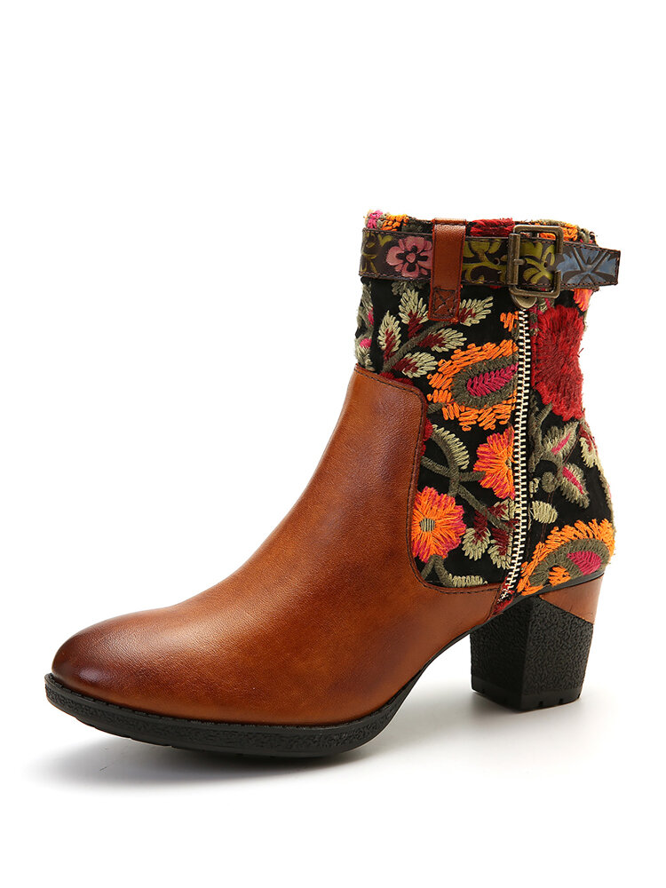 SOCOFY Retro Embroidered Pattern Genuine Leather Stitching Zipper Comfy High Heel Boots
