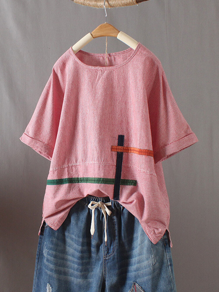 Embroidery Striped Patchwork O-Neck Half Sleeve T-shirt