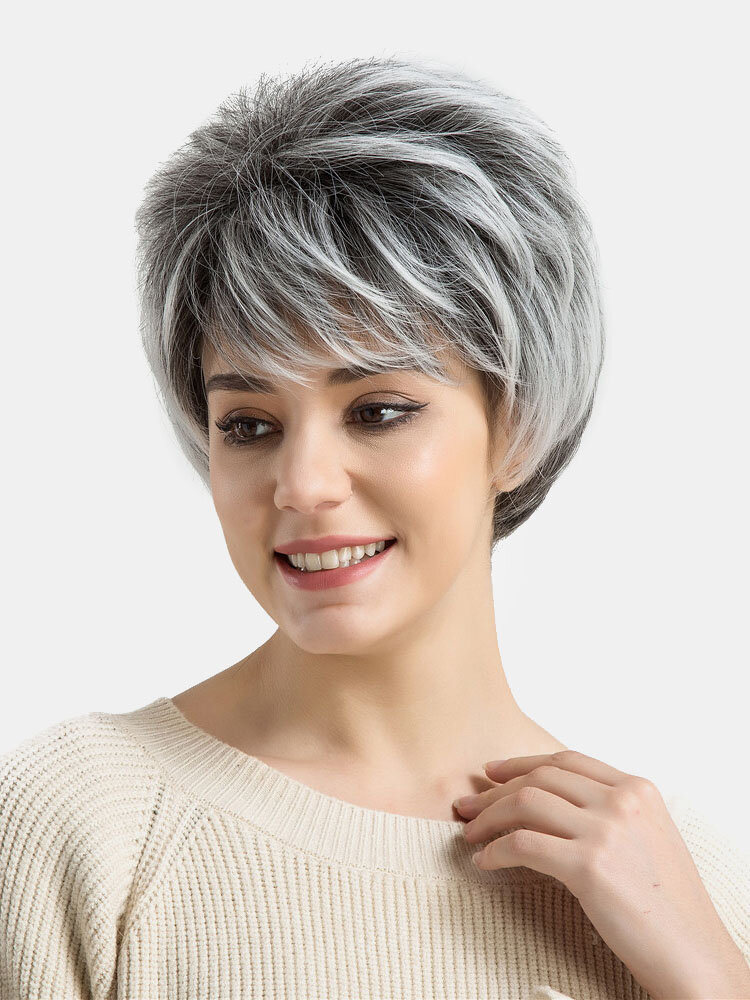 Women Short Hair Wigs Black White Mix Color 9 Inch Straight Synthetic Hair Wigs