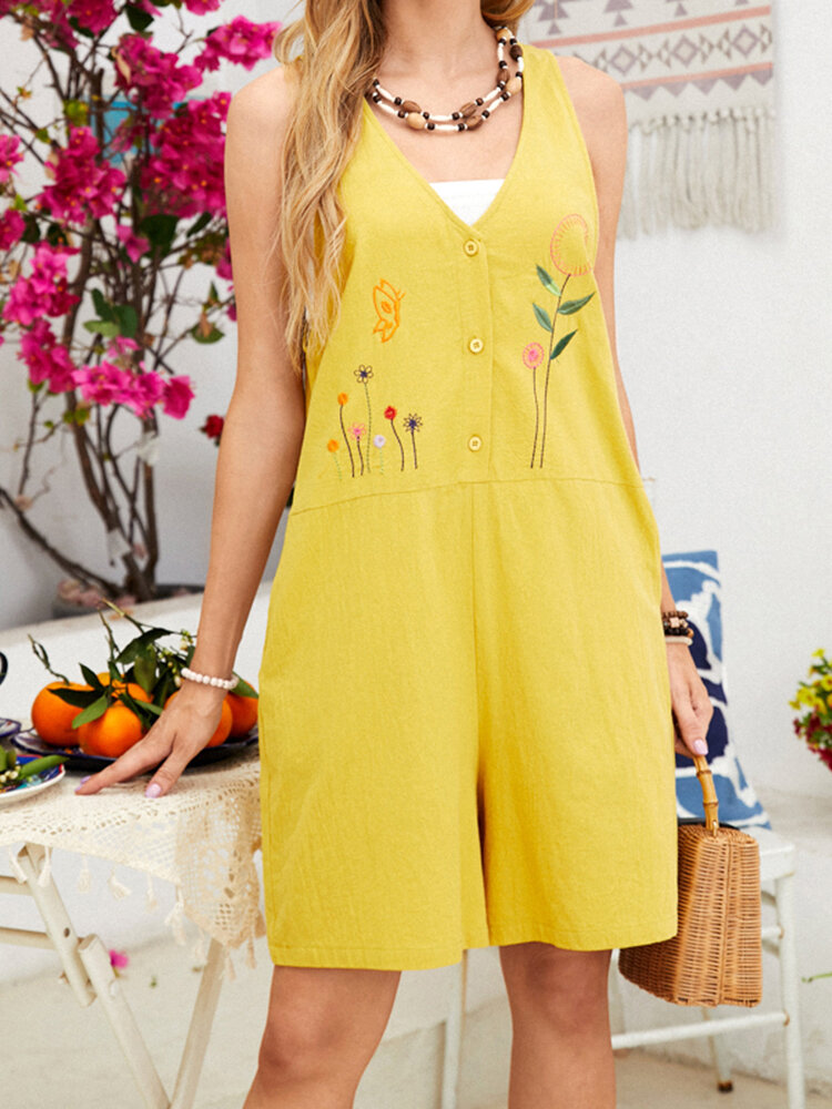 Embroidery Flowers V-neck Sleeveless Buttons Casual Romper