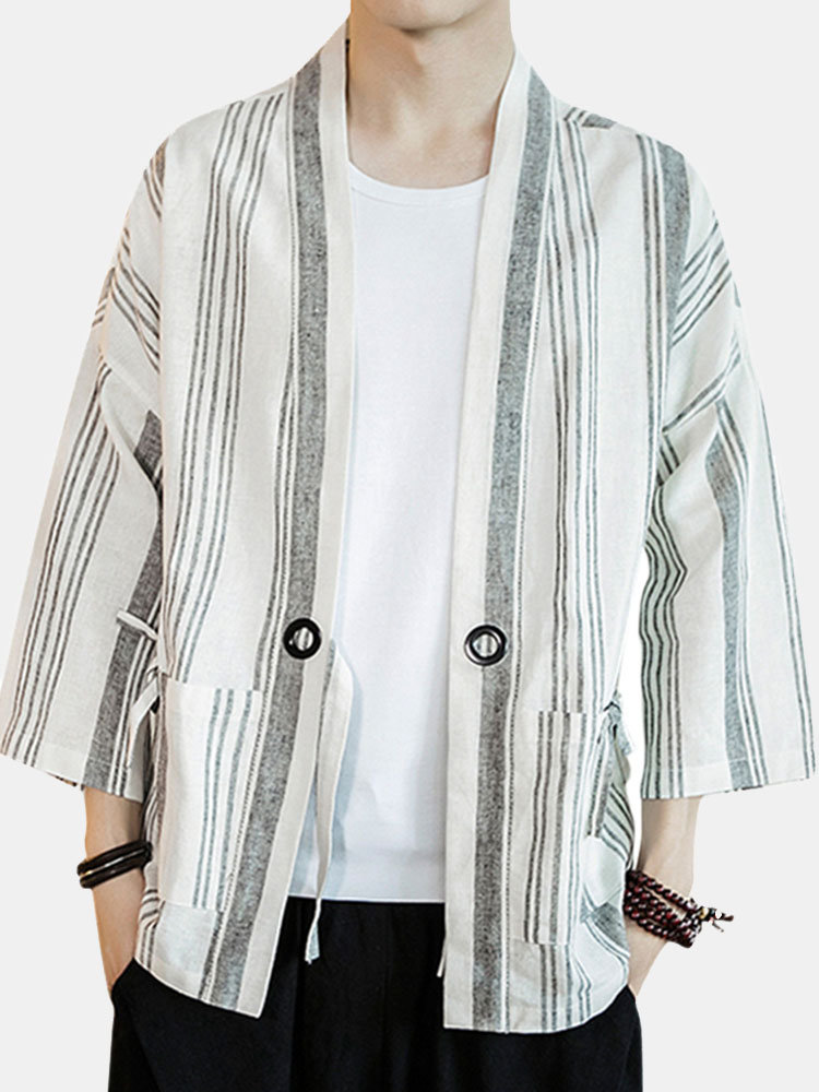 Plus Size Chinese Style Half Sleeve Big Pockets Cotton Stripes Loose Linen Shirts for Men