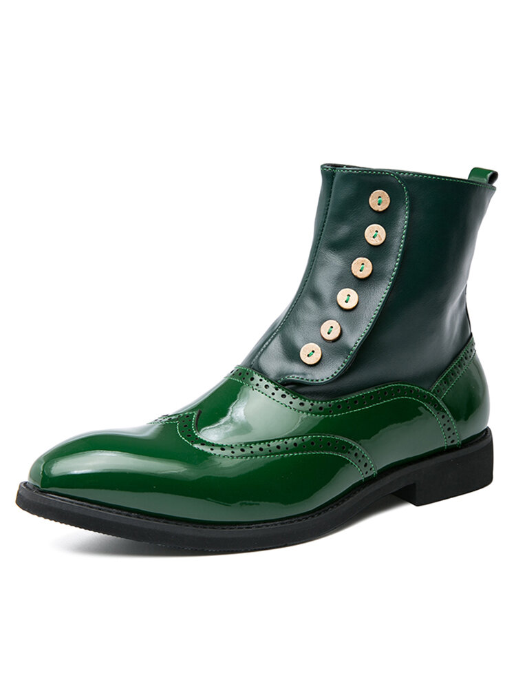 Men British Style Brogue Pointed Toe Dress Ankle Boots
