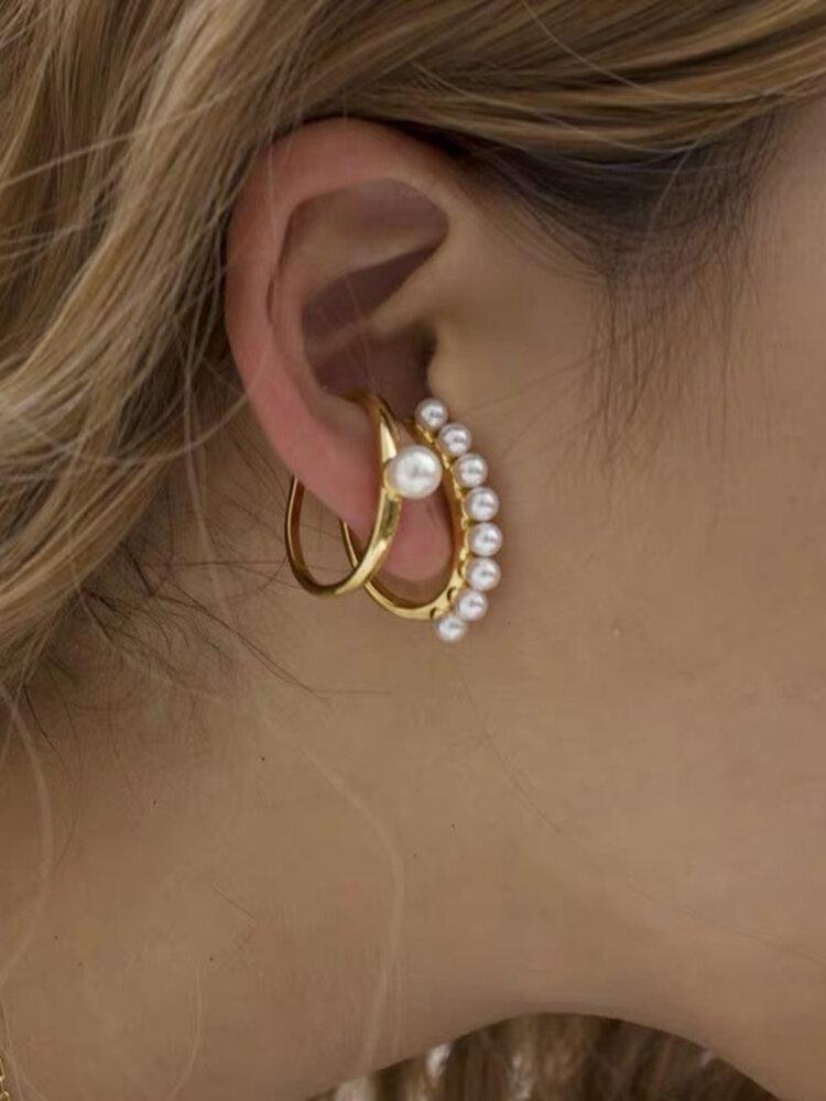 Vintage Temperament Metal Pearl C-shaped Ear Clip