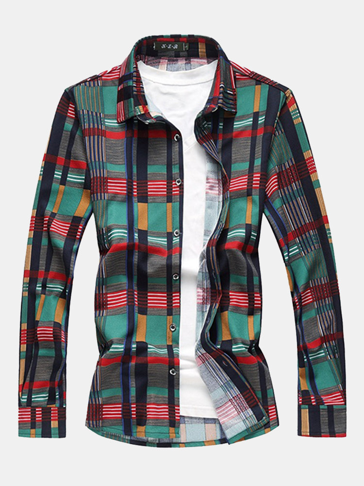 Plus Size Stylish Checked Plaids Printing Loose Designer Shirts for Men