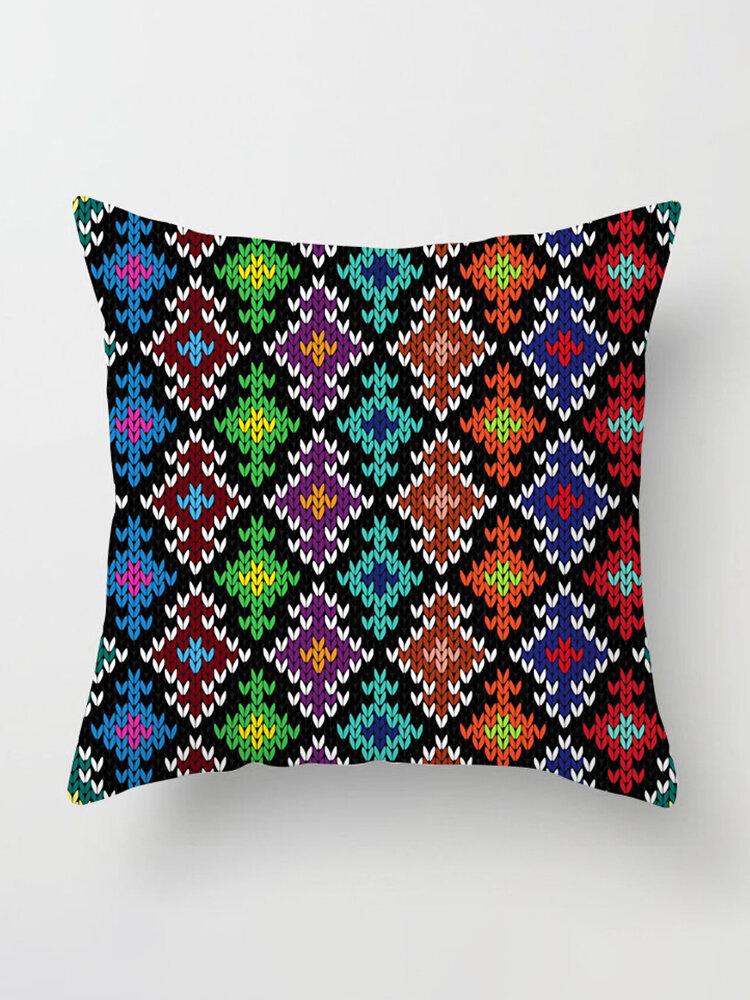 Striped Digital Printing Peach Skin Velvety Pillowcase Modern National Style Sofa Pillowcase Decoration