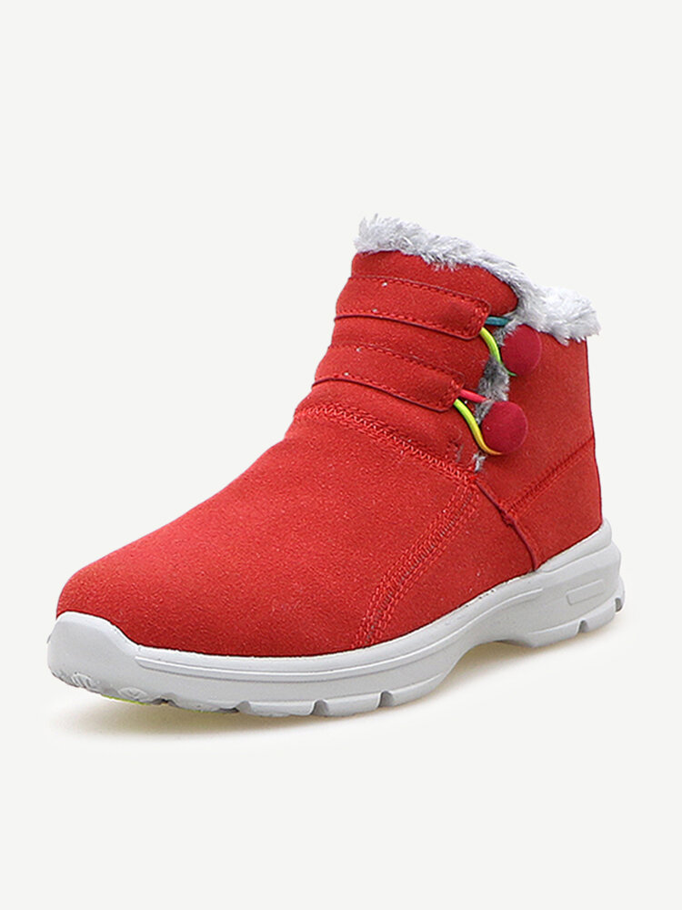 Button Fur Lining Ankle Casual Boots