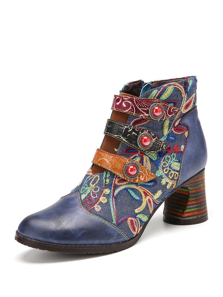 SOCOFY Blumenstickerei Spleißen von echtem Leder Tragbare Sohle Chunky Heel Knöchel Stiefel