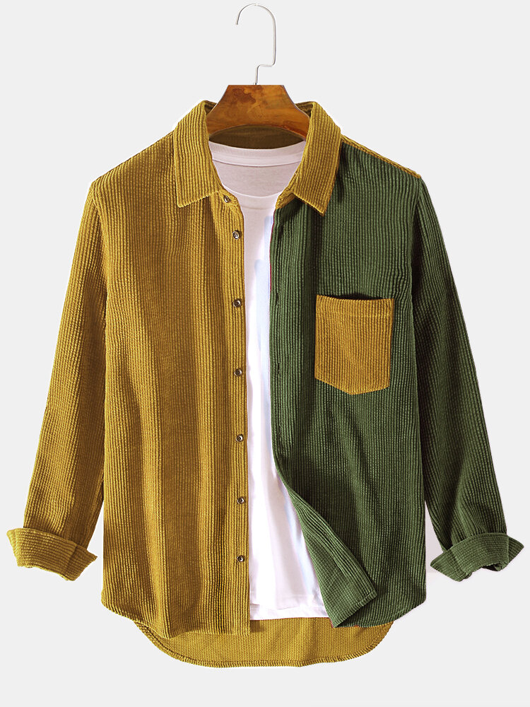 Mens Corduroy Designed Patchwork Casual Loose Long Sleeve Shirts