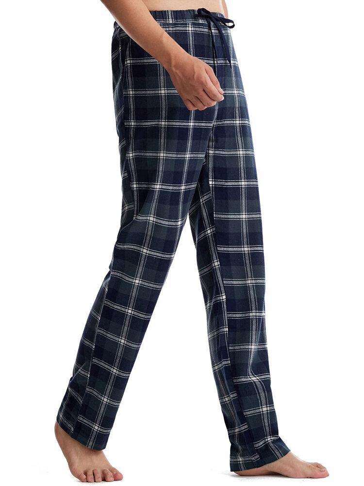 メンズコットンカジュアル快適なチェック柄ギンガムチェックストリングパジャマパンツ