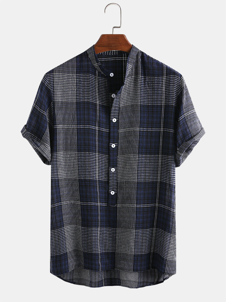 Mens 100% Cotton Plaid Casual Loose Stand Collar Henley Shirt