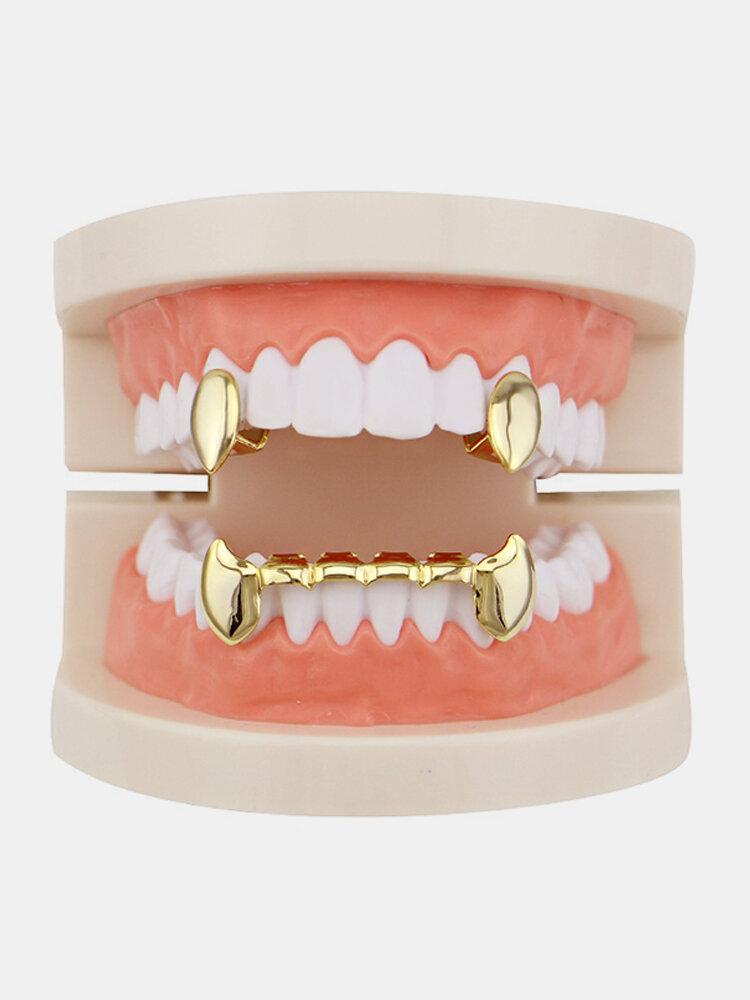 Vintage Vampire Dentier Set Métal Géométrique Bretelles Canine Grillz Dents Bijoux