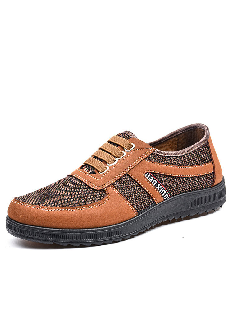 Men Brief Lace-up Mesh Fabric Breathable Hard-wearing Safety Shoes