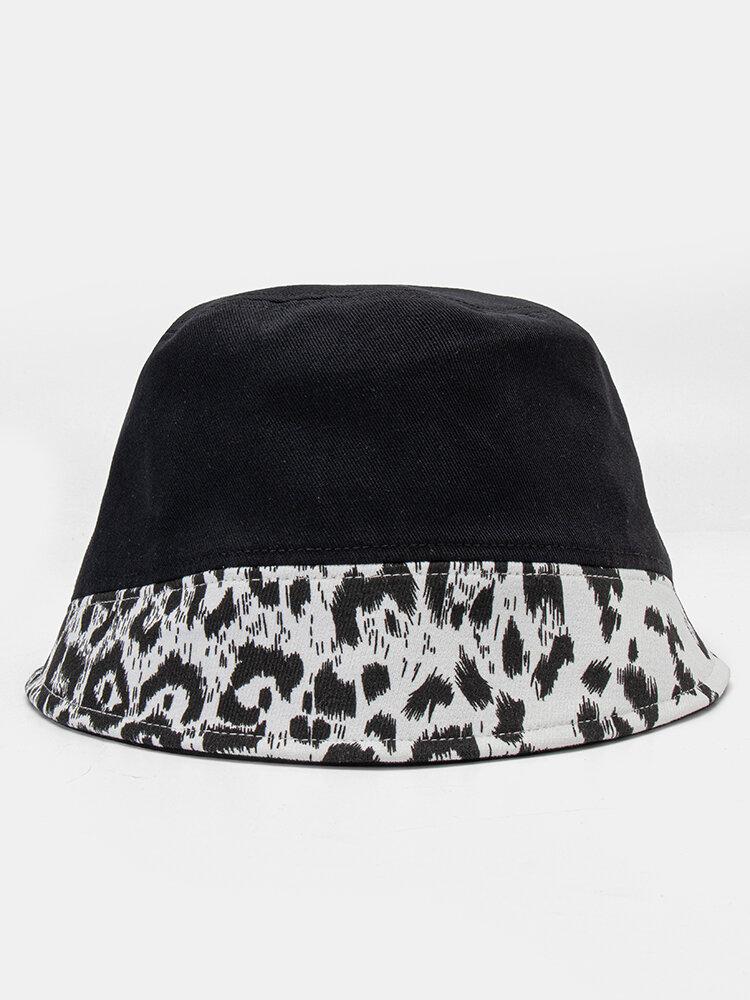 Women Cotton Leopard Pattern Print Patchwork Fashion All-match Sunscreen Bucket Hat