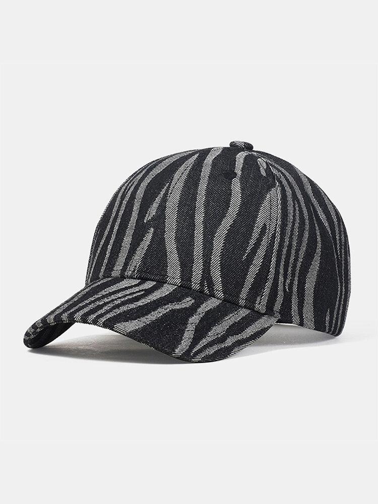 Unisex Denim Irregular Stripe Print Fashion Sun Protection Baseball Caps