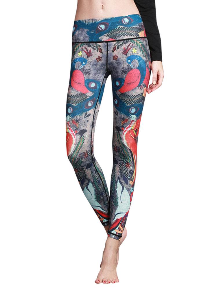 5 Farben gedruckt Stretch Workout Hosen für Frauen