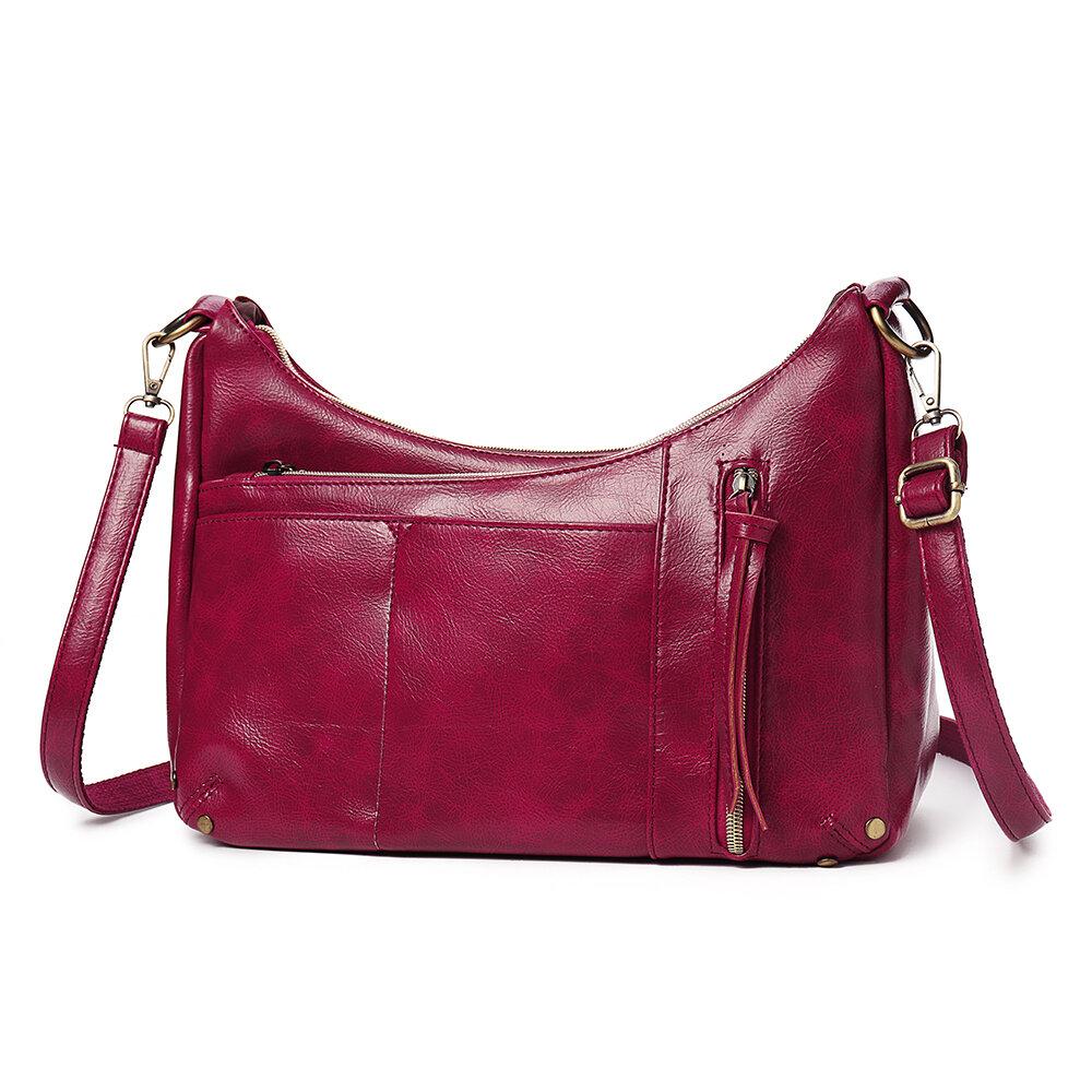 Women Multi-pockets Solid Wax Oil Skin Shoulder Bag