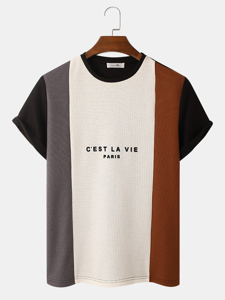 Mens Letter Pattern Knitted Patchwork Crew Neck Short Sleeve T-Shirt