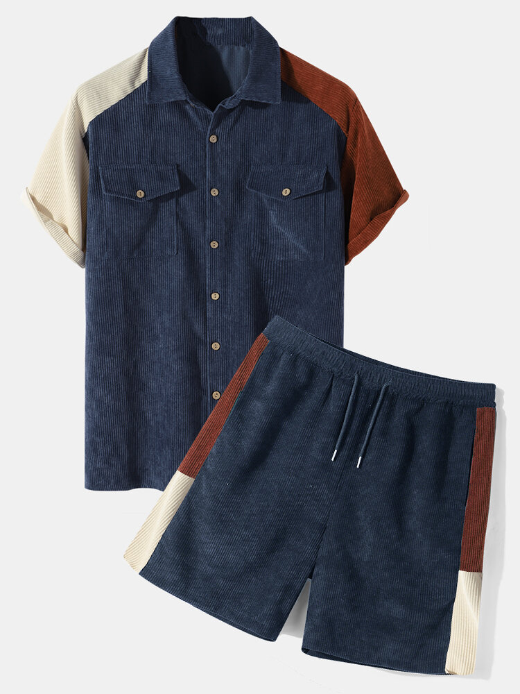 Mens Corduroy Patchwork Flap Pocket Raglan Sleeve Preppy Two Pieces Outfits