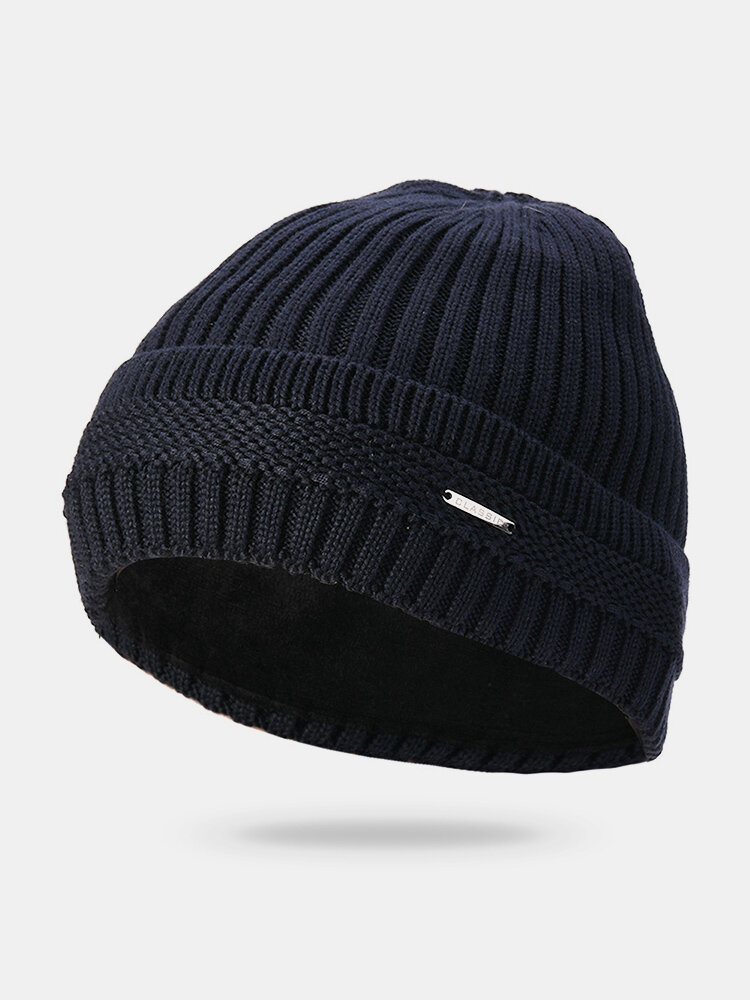 Men Solid Color Knit Plus Velvet Fashion Beanie Hat Outdoor Travel Keep Warm Windproof Ski Cap