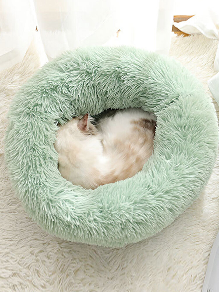 BODISEINT Modern Soft Plush Round Pet Bed for Cats or Small Dog Mini Medium Sized Dog Cat Bed Self Warming Autumn Winter Indoor Snooze Sleeping Cozy Kitty Teddy Kennel