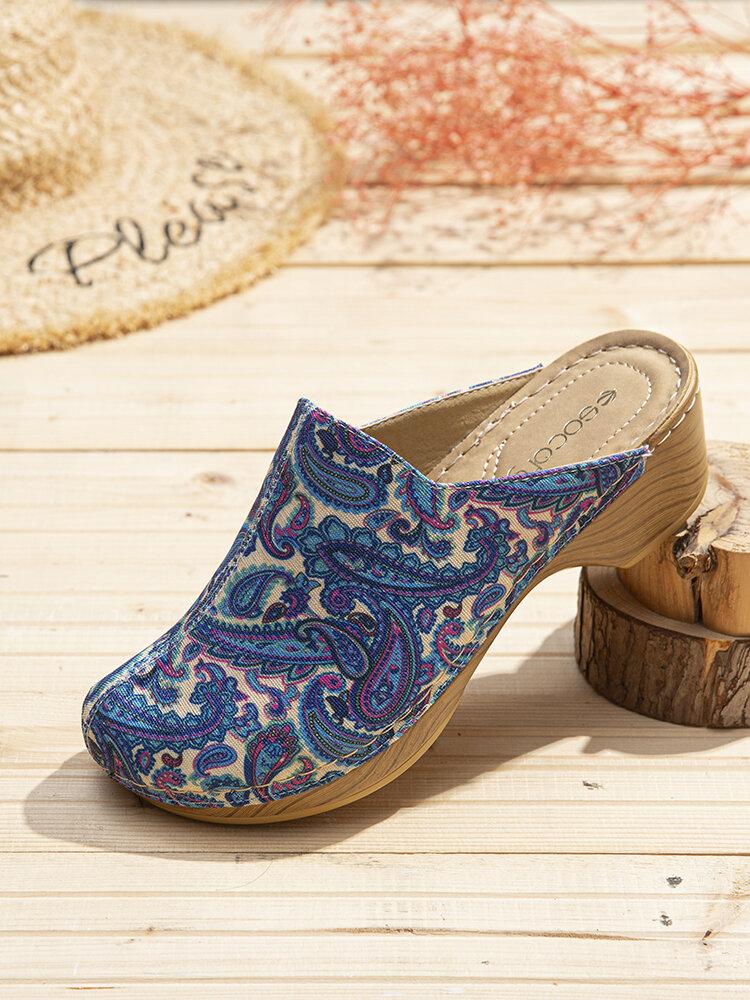 SOCOFY ретро ткань Folkways Шаблон шить слипоны на сабо удобные на низком каблуке Сандалии для пасхальных подарков