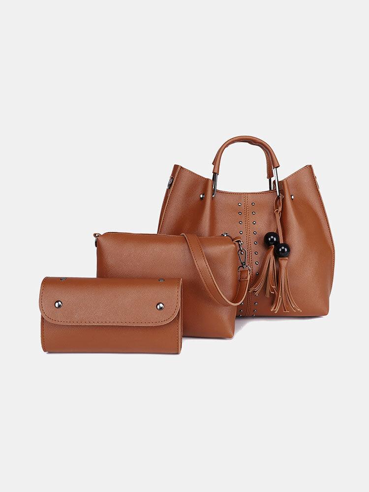 Einfache und modische All-Match-Umhängetasche mit großem Fassungsvermögen Dreiteilige tragbare Sohn-Mutter-Tasche