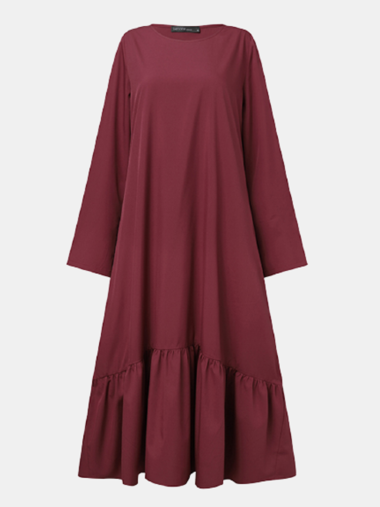 Solid Color O-neck Long Sleeve Plus Size Casual Dress with Pocket