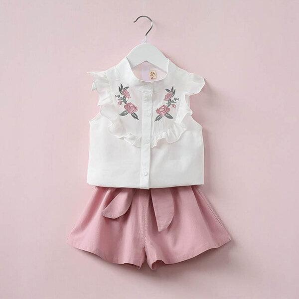 2Pcs Summer Girls Clothing Set Floral Shirt+Short Kids Outfit Set For 2Y-9Y