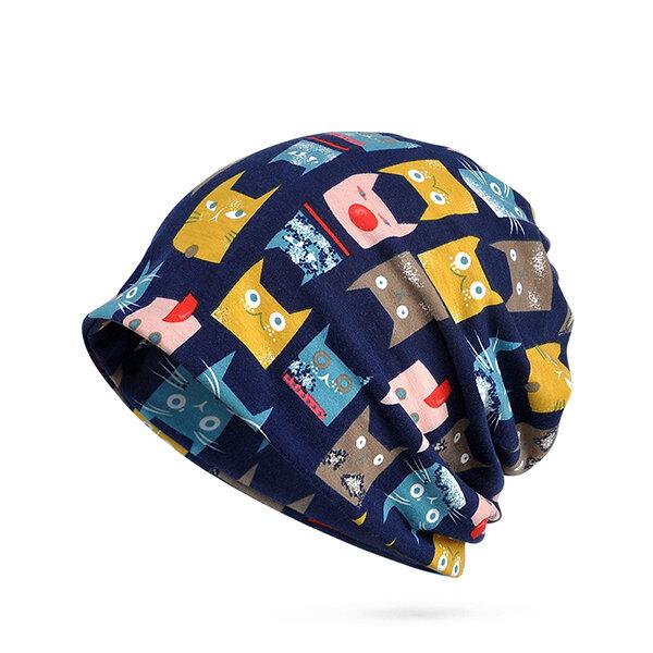 Frauen Winter Katze Muster Baumwolle Beanie Mütze Schal Samt Dicke Warme Slouchy Skullies Bonnet Hut
