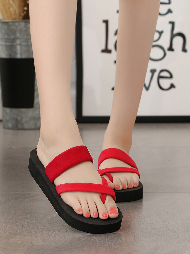 Women Clip Toe Comfy Non Slip Casual Beach Platform Slippers