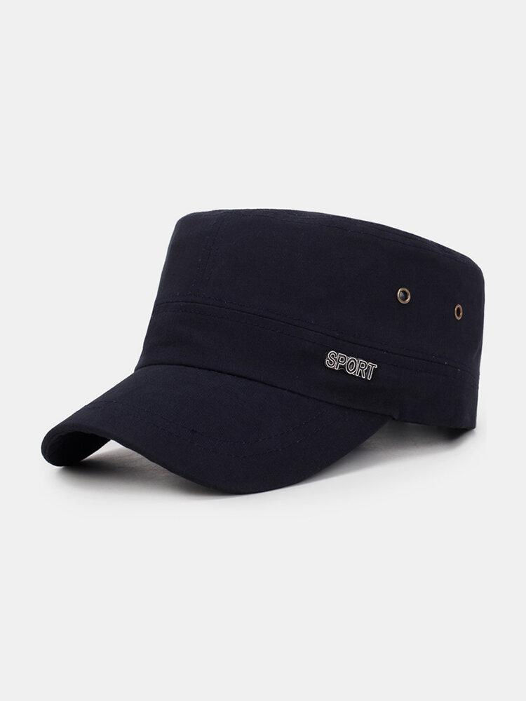 Men Adjustable Windproof Wild Cotton Flat Cap Simple Style Outdoor Casual Travel Sun Hat