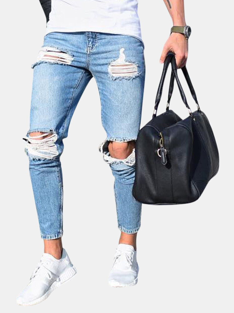 Ripped Stylish Low Waist Skinny Washed Blue Jeans For Men