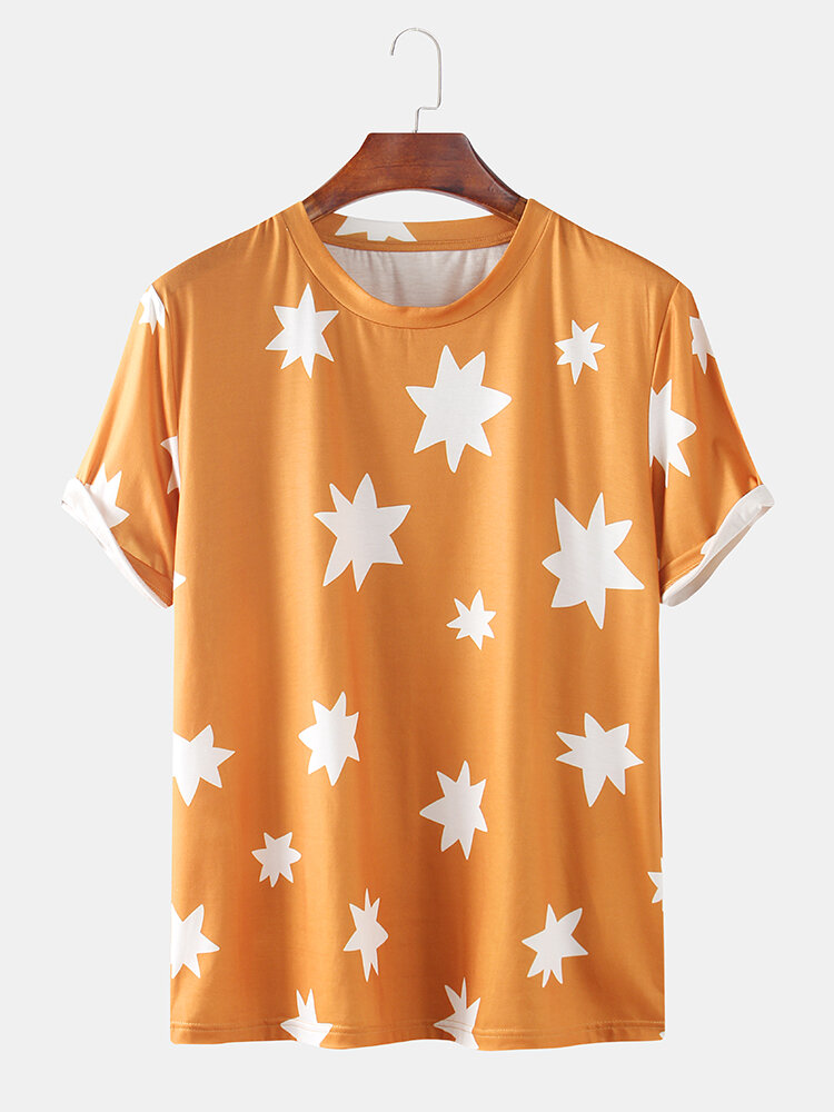 Mens Thin & Breathable Starry Printed Casual Short Sleeve Shirt