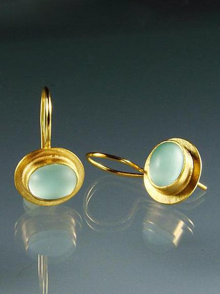 Vintage Gem Inlaid Women Earrings Synthetic Moonstone Pendant Earrings