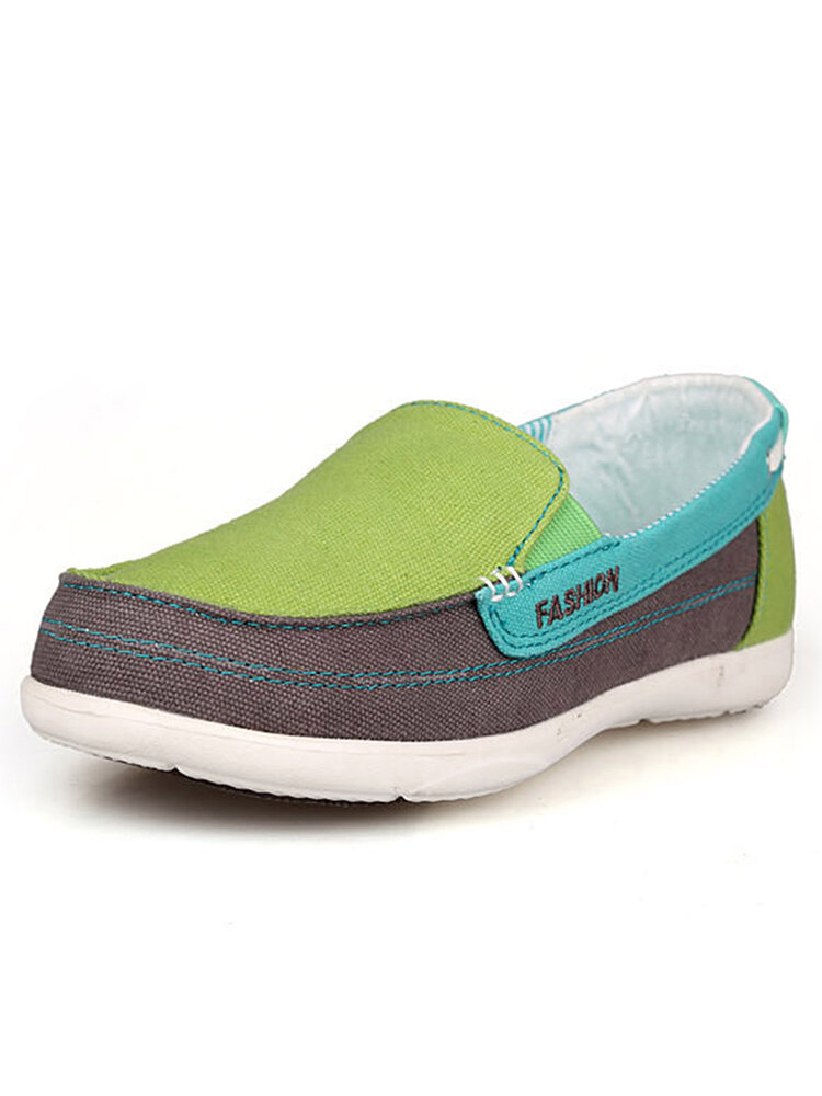 Comfy Canvas Wide Fit Slip On Walking Shoes for Women