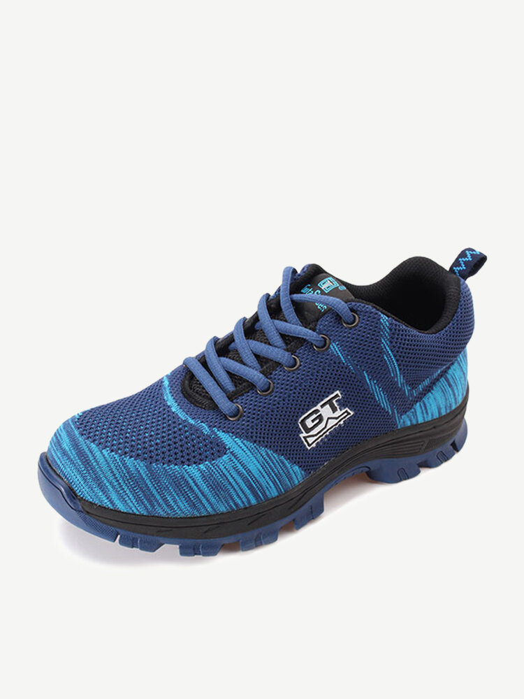 Men Large Size Knitted Fabric Safty Anti Smashing Puncture Work Shoes