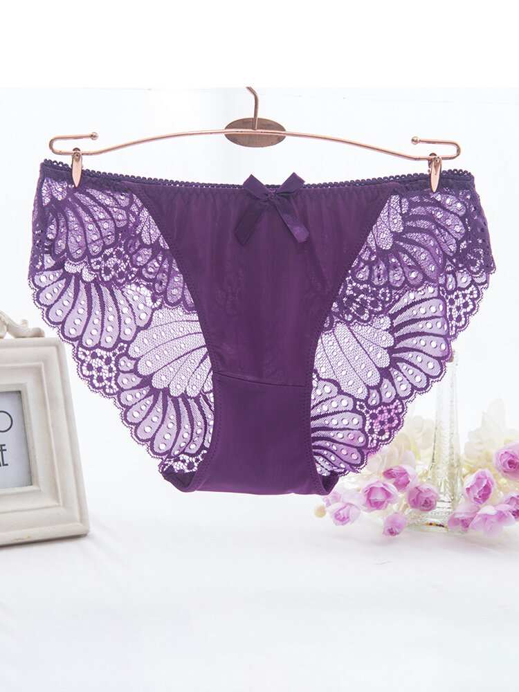Plus Size Sexy Lace Low Rise See Through Breathable Panties