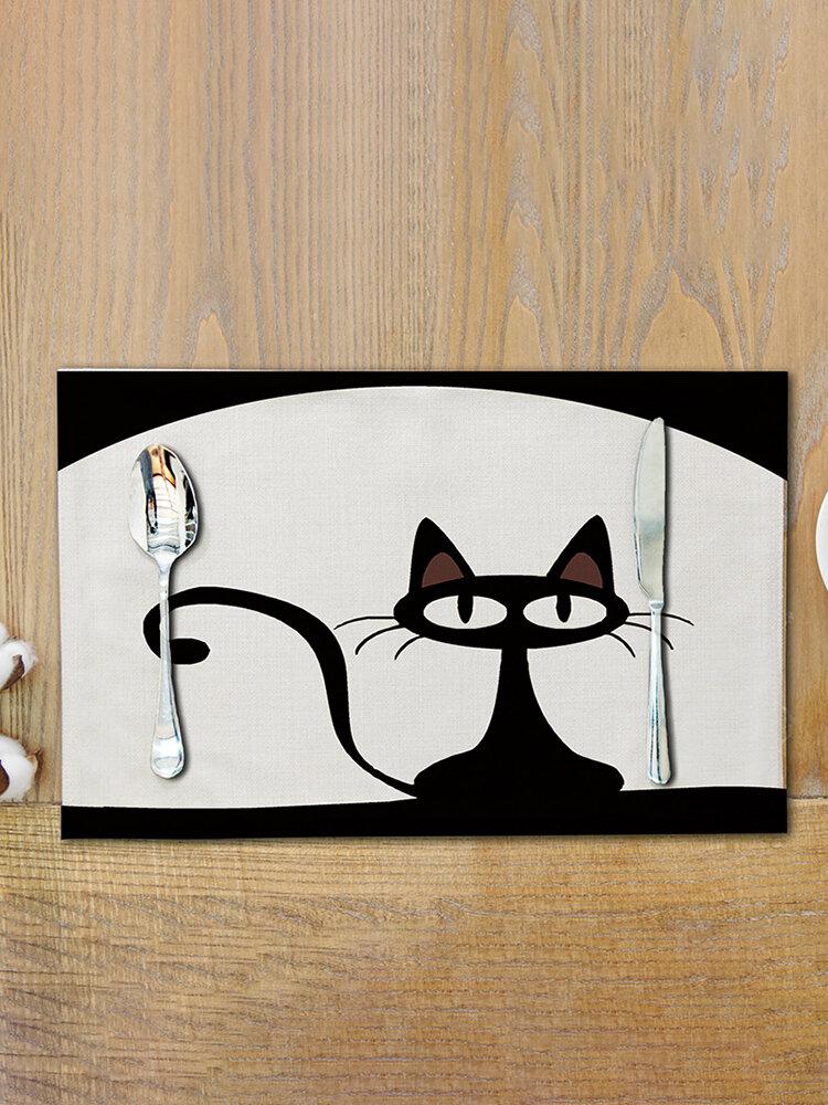 Lovely Cat Dining Mat Cartoon Black Cat Pattern Printed Cotton and Linen Mat