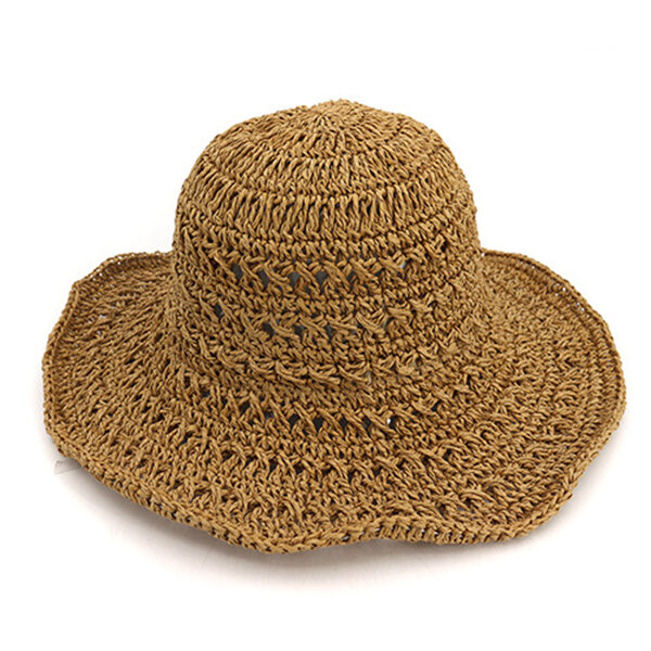 Women Hollow-out  Folding Straw Bucket Cap Summer Visor Caps Breathable Hats