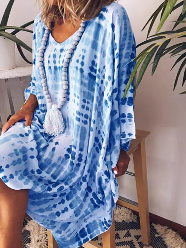 Tie-dyed Print Long Sleeve V-neck Loose Casual Dress For Women