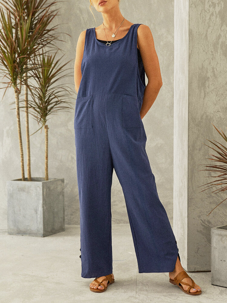Casual Side Button Straps Plus Size Jumpsuit with Pockets