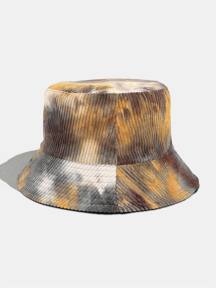 Women & Men Corduroy Multicolor Tie Dye Casual Soft Outdoor All-match Bucket Hat