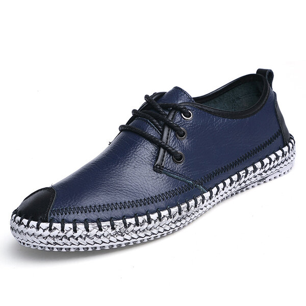 Big Size Cap-toes Stitching Lace Up Sport Flat Casual Shoes For Men