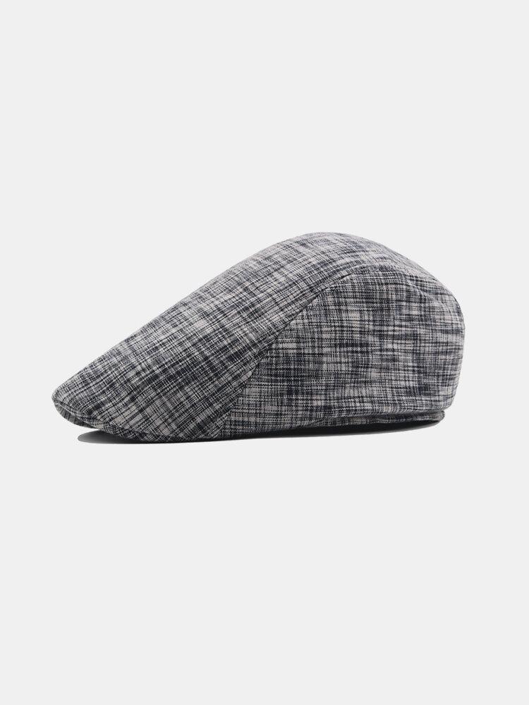 Mens Vintage Adjustable Stripe Cotton Beret Peaked Cap Casual Breathable Cowboy Beret Hats