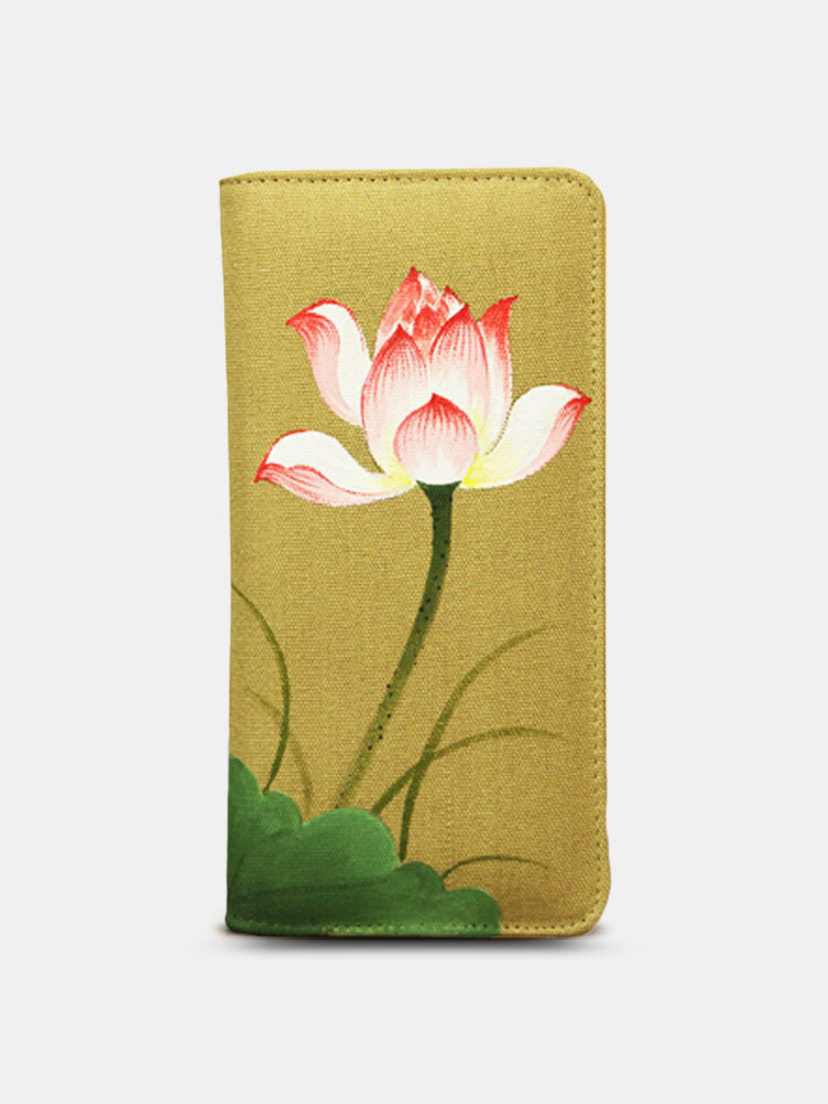 Women Vintage Multifunction Hand-printed Ethnic Chinese Style Wallet