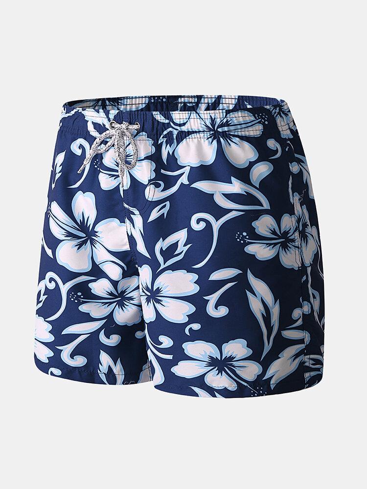 Men Blue Floral Print Short Beach Surfing Holiday Drawstring Casual Shorts