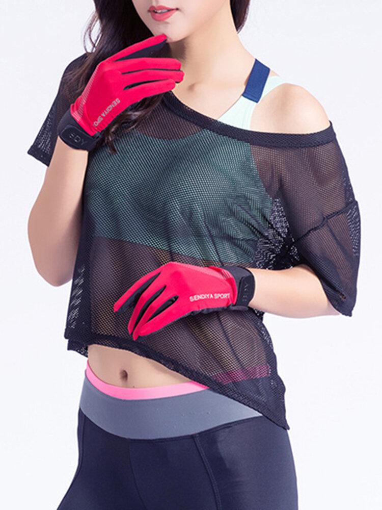 Men Women Summer Thin Outdoor Sports Touch Screen Full Finger Gloves Antiskid Fishing Gloves