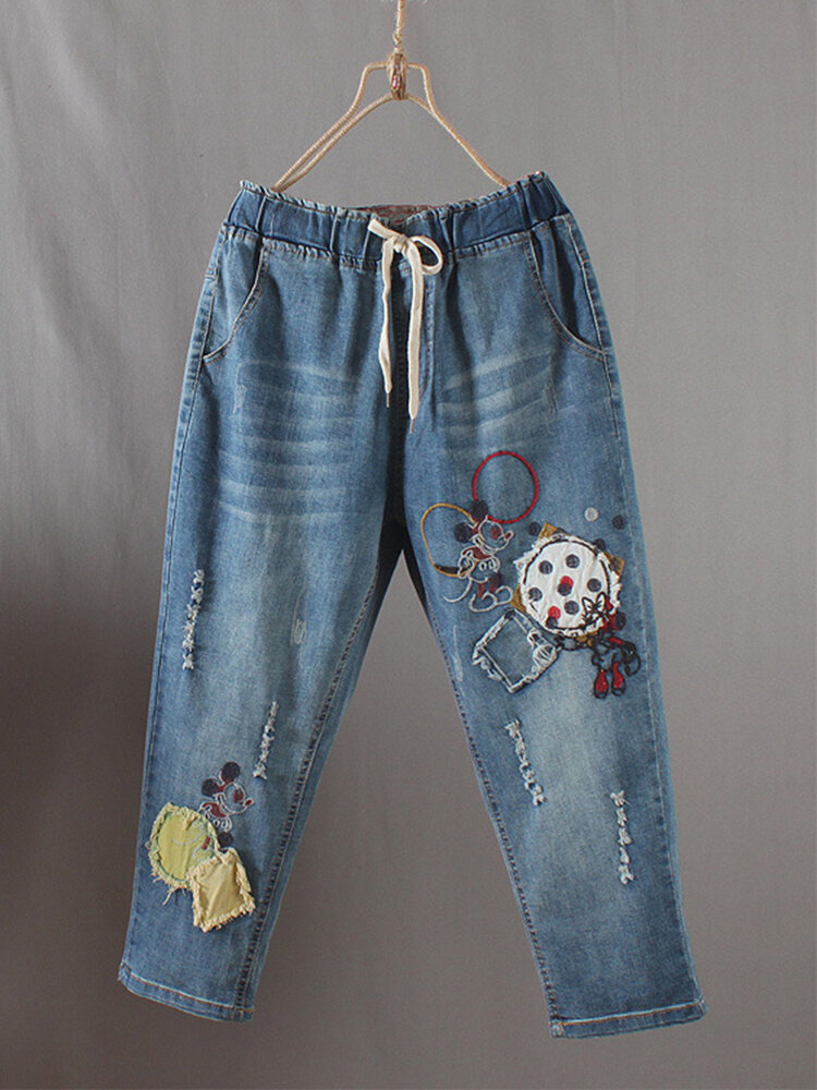 Cartoon Embroidered Patch Polka Dot Jeans For Women